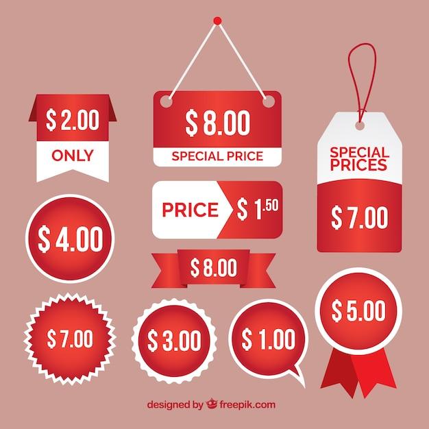 Diverse etichette e prezzi speciali adesivi Vettore gratuito