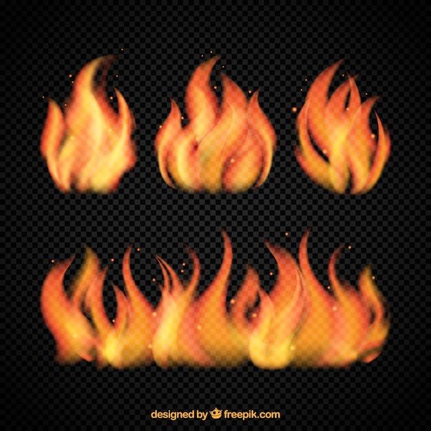 Diverse fiamme luminose di fuoco Vettore gratuito