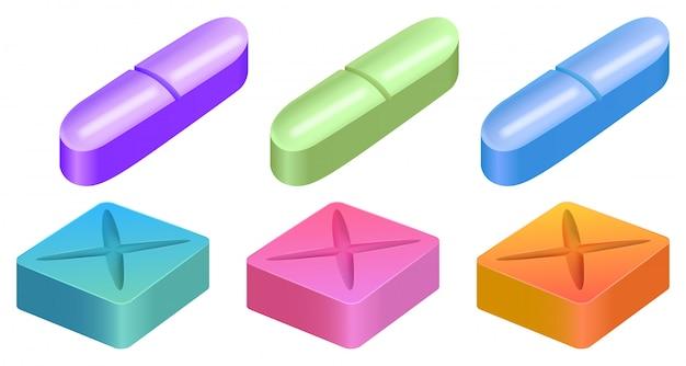 Diverse forme di pillole medicinali Vettore gratuito