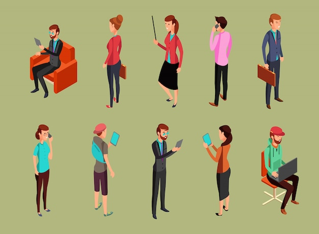 Diverse persone dell'ufficio seduti e in piedi, utilizzando i gadget. illustrazione isometrica di vettore degli uomini e della donna persone di donne e uomini seduti e in piedi Vettore Premium