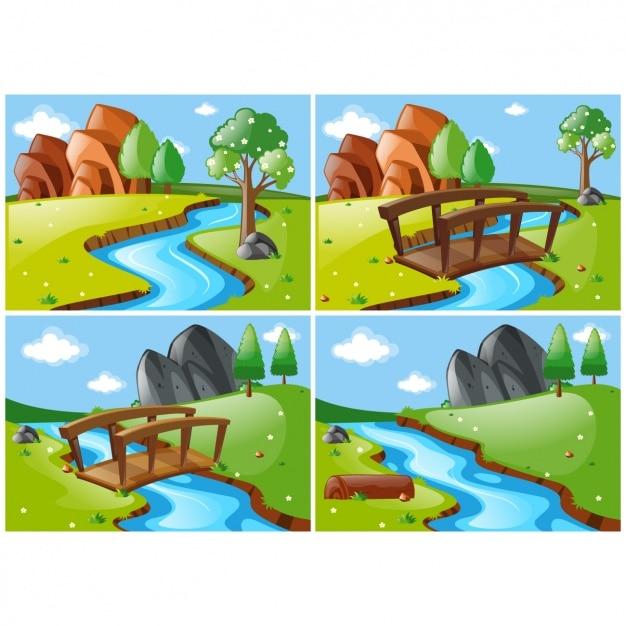 Diverse scene di paesaggio con un fiume Vettore gratuito