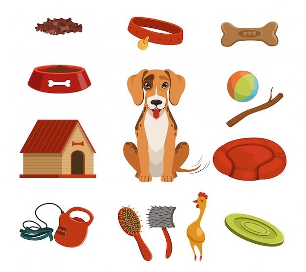 Diversi accessori per animali domestici. cane in casa set di illustrazioni vettoriali. Vettore Premium