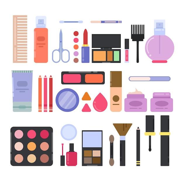 Diversi accessori per il trucco per ragazze e donne. Vettore Premium