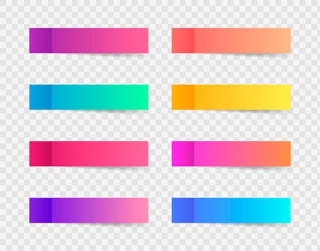 Diversi adesivi colorati post note Vettore Premium