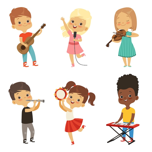 Diversi bambini cantano Vettore Premium