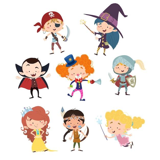 Diversi bambini travestiti per una festa o halloween Vettore Premium