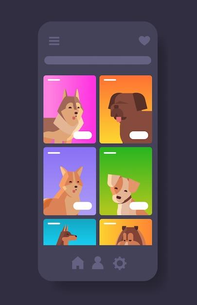 Diversi cani ritratti pelosi amici umani animali domestici sito web o negozio online animali cartoon smartphone schermo mobile app verticale Vettore Premium