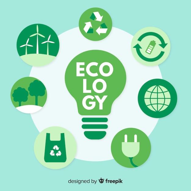Diversi concetti di ecologia attorno a una lampadina Vettore gratuito
