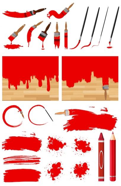 Diversi disegni di pittura ad acquerello in rosso con diverse pennellate Vettore Premium