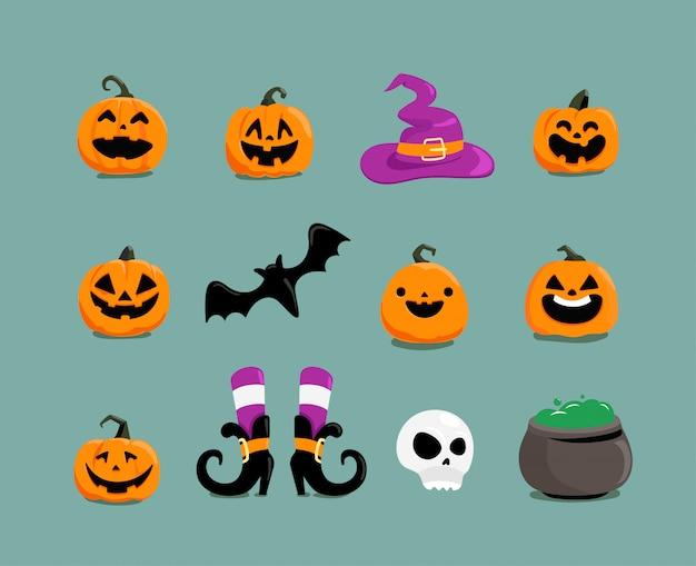 Diversi elementi di halloween clipart Vettore Premium