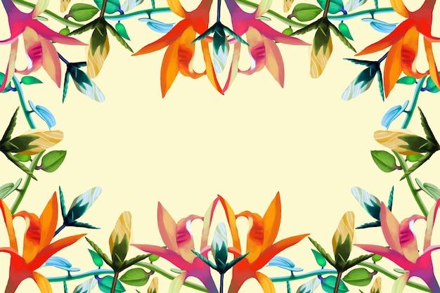 Diversi fiori realistici sullo sfondo Vettore gratuito