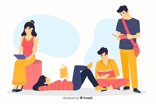Diversi giovani che leggono insieme Vettore gratuito