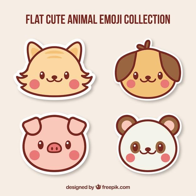 Diversi grandi emoticons animali Vettore gratuito