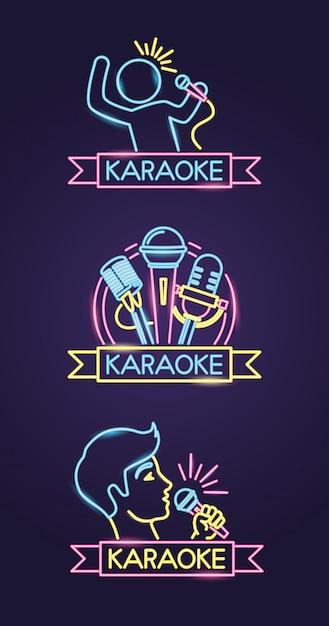 Diversi karaoke in stile neon con cantante e microfono viola Vettore gratuito