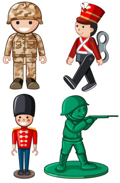 Diversi modelli di soldatini Vettore gratuito