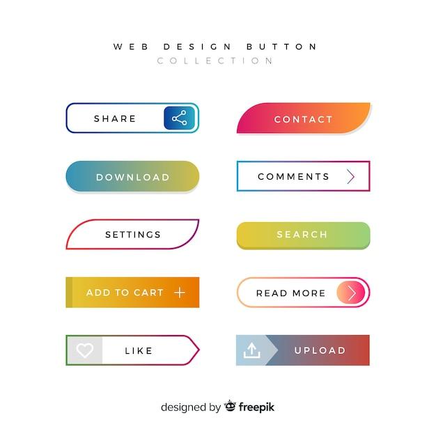 Diversi pulsanti web in stile sfumato Vettore gratuito