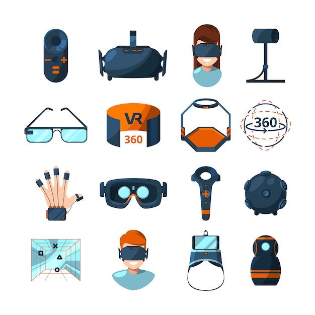 Diversi simboli della realtà virtuale Vettore Premium