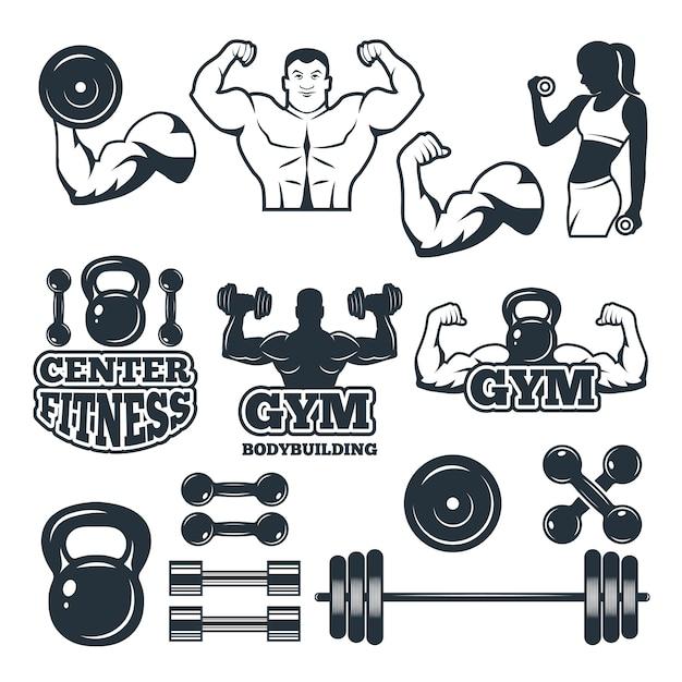 Diversi simboli e distintivi impostati per il fitness club Vettore Premium