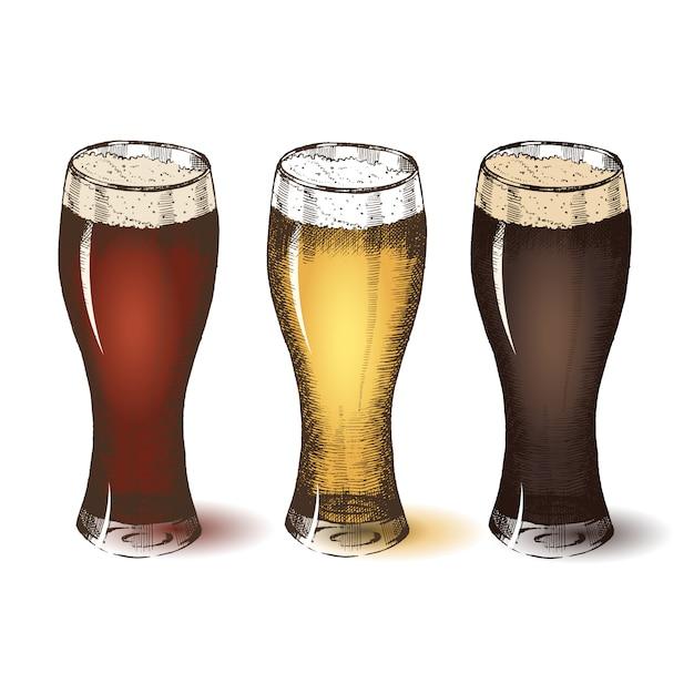 Diversi tipi di birra. schizzo dell'oktoberfest, disegno a mano libera. Vettore Premium