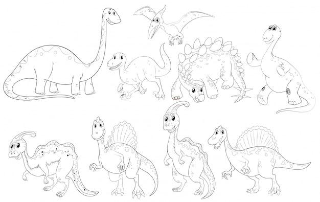Diversi tipi di dinosauri Vettore gratuito