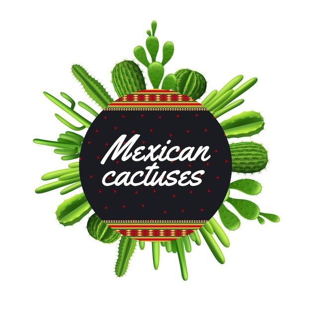 Diversi tipi di piante di cactus messicano a forma di cerchio Vettore gratuito