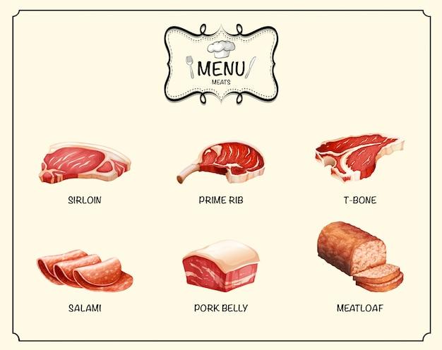 Diversi tipi di prodotti a base di carne Vettore gratuito