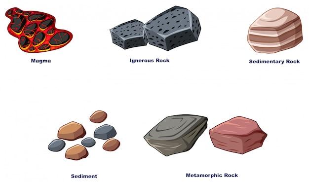 Diversi tipi di rocce su sfondo bianco Vettore gratuito