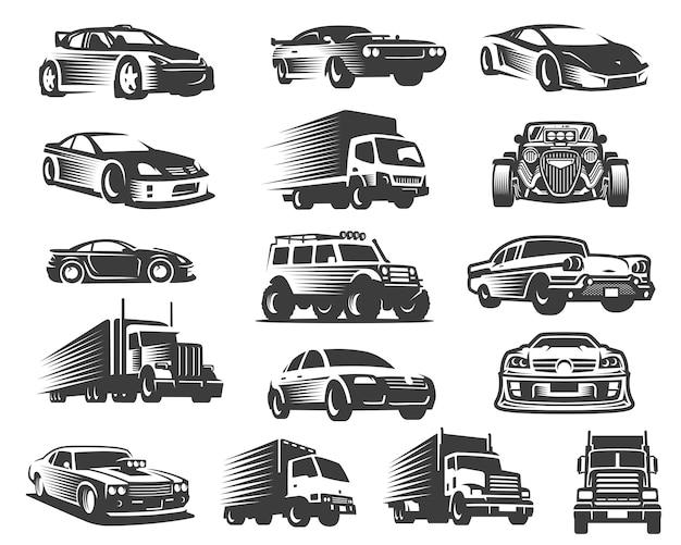 Diversi tipi di set di illustrazione di automobili, collezione simbolo auto, pacchetto di icone di auto Vettore Premium