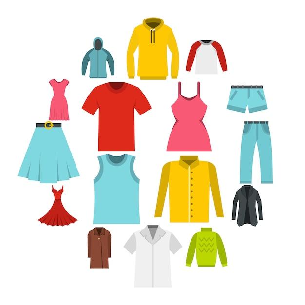 Diversi vestiti impostare icone piatte Vettore Premium