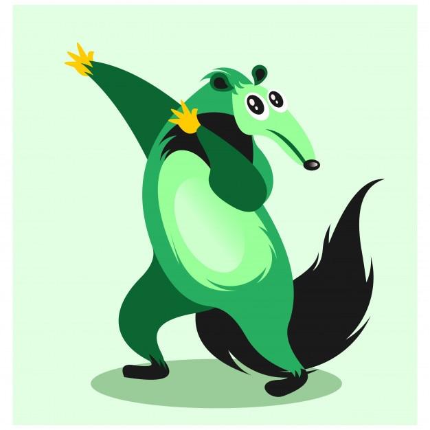 Divertente allegro verde gigante formichiere personaggio dei