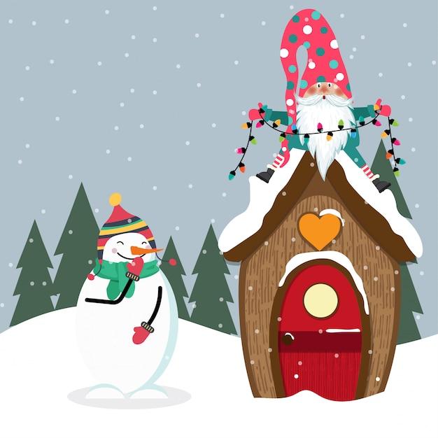 Divertente cartolina di natale con gome e pupazzo di neve Vettore Premium