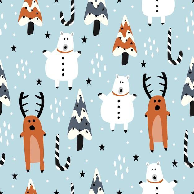 Divertente cartone animato di renne e pupazzo di neve per l'inverno natale Vettore Premium