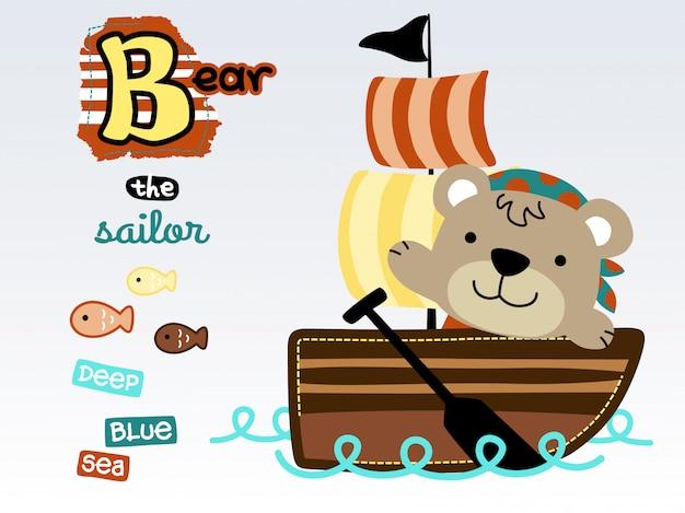 Divertente cartone animato marinaio sulla barca a vela Vettore Premium