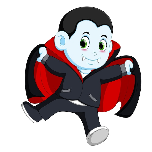 Uomo felice vampiro di cartone animato con bolla di pensiero stock
