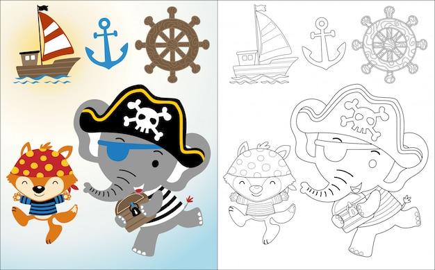 Divertente cartone animato pirata con attrezzatura a vela Vettore Premium