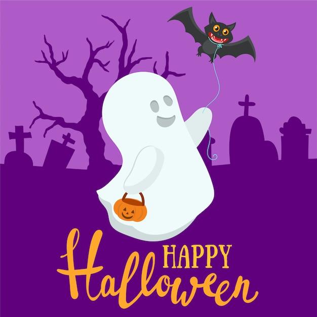 Divertente decorazione di halloween Vettore Premium
