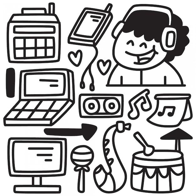 Divertente doodle musicale Vettore Premium