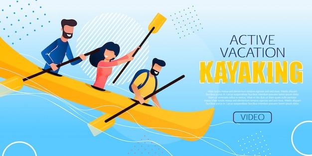 Divertente flyer active vacation kayaking flat Vettore Premium