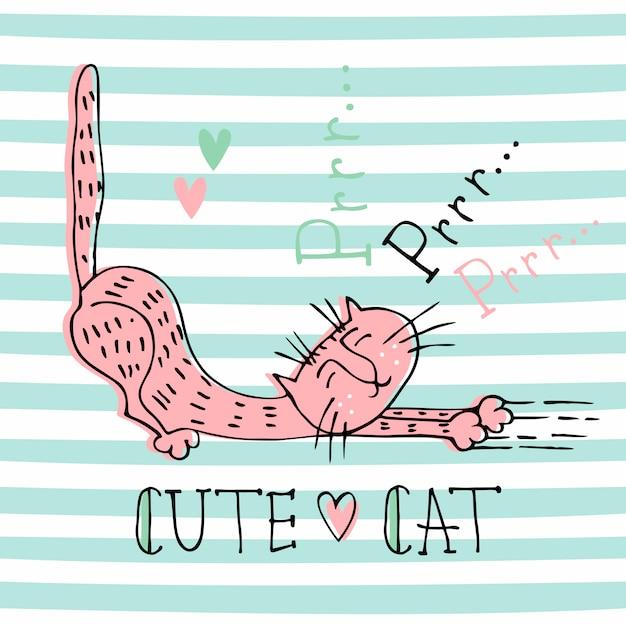 Divertente gatto domestico in un simpatico stile doodle. le fusa del gatto. lettering Vettore Premium