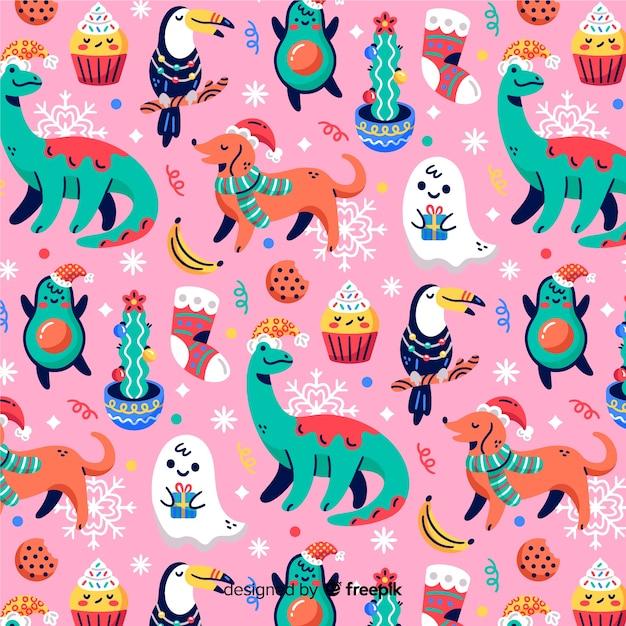 Divertente motivo natalizio con cani e dinosauri Vettore gratuito