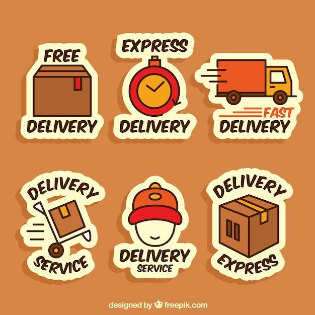 Divertente raccolta di etichette di consegna Vettore gratuito