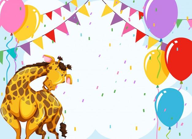 Divertente scena della festa della giraffa Vettore gratuito