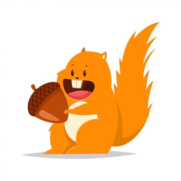 Divertente scoiattolo grasso con un dado. vector il personaggio piatto del fumetto di animale della foresta. Vettore Premium