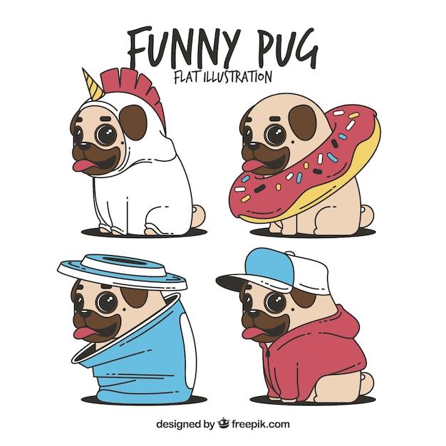 Divertente serie di pugs con costumi Vettore gratuito