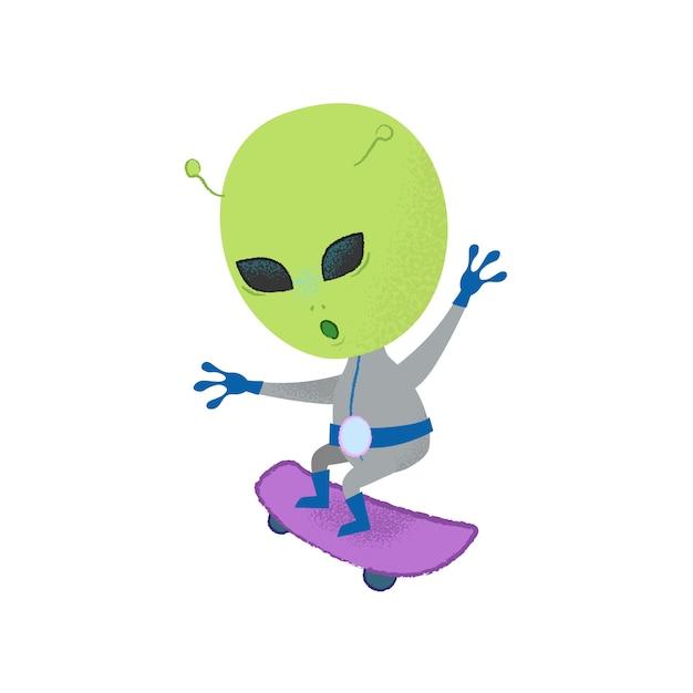 Divertente skateboarding alieno. stunt, creatura, personaggio. Vettore gratuito