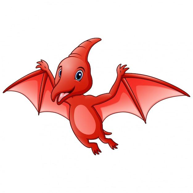 Divertente un cartone animato animale pterodattilo Vettore Premium