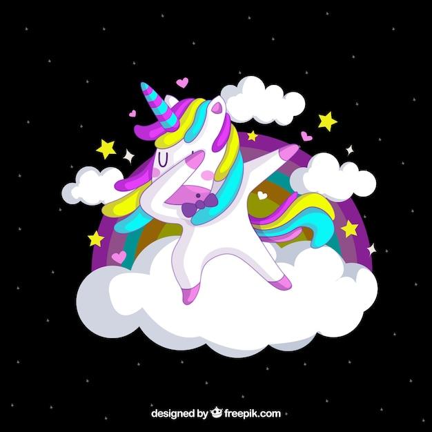 Divertente unicorno facendo tamponando Vettore gratuito
