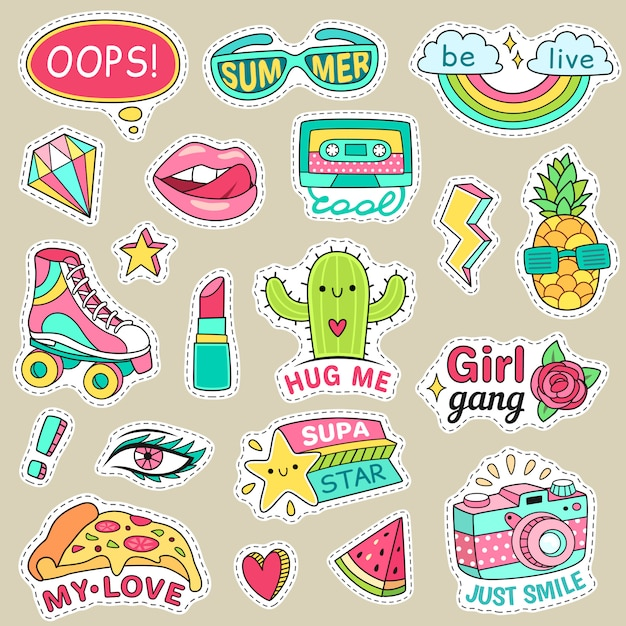 Divertenti adesivi moda per adolescenti. patch di cartoni animati carini per teenager. Vettore Premium