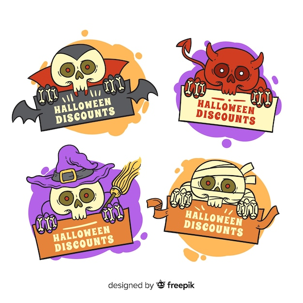 Divertenti creature di halloween in vendita collezione di badge Vettore gratuito