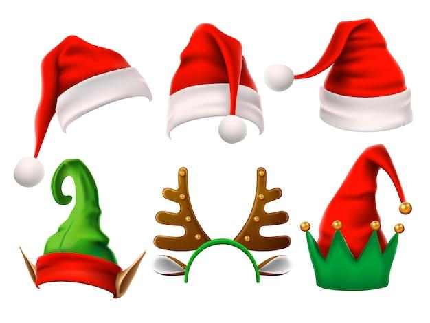 Divertenti elfi, renne di neve e cappelli di babbo natale per natale. set isolato Vettore Premium